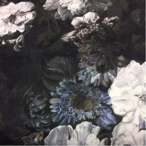 Шелк твил костюмный принт D&G темные цветы