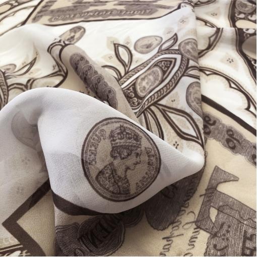 Шелк шифон принт Moschino купон с долларами в кофейной гамме