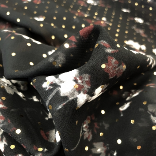 Вискоза плательная шифон принт Blumarine продольный купон нежные цветочки и золотистые горошинки