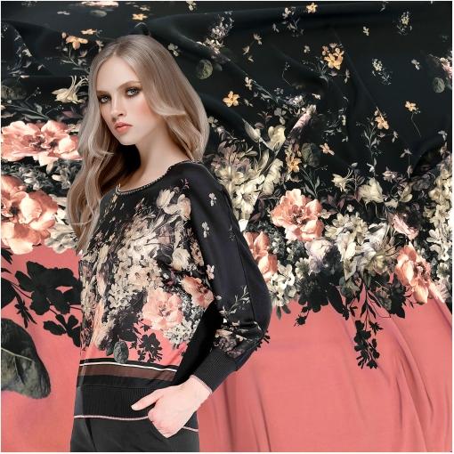 Креп-кади вискозное стрейч дизайн Elisa Fanti цветочный купон в черно-розовых тонах