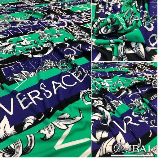 Трикотаж вискозный скользкий дизайн Versace зелено-сиреневый печворк