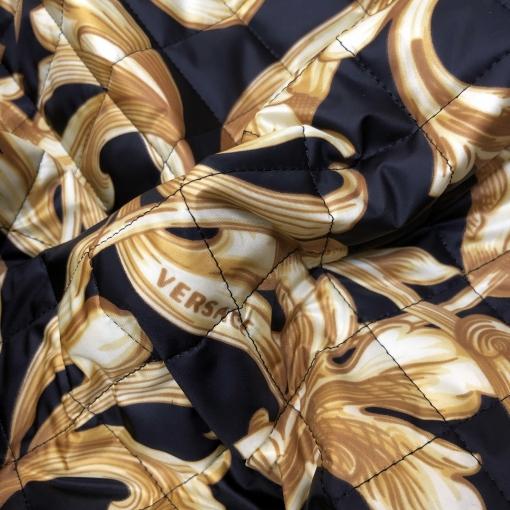 Ткань курточная стеганная двухсторонняя принт Versace вензеля и логотипы на черном фоне