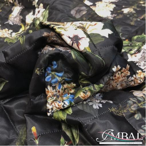 Ткань курточная стеганная принт D&G лилии и вензеля
