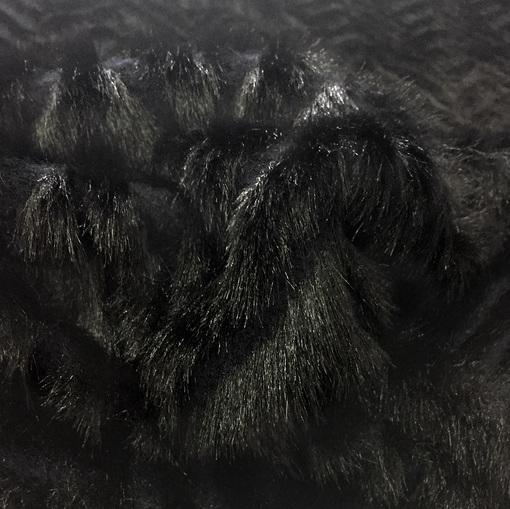 """Трикотаж шерстяной пальтовый с мехом """"елочка"""" на синем фоне"""