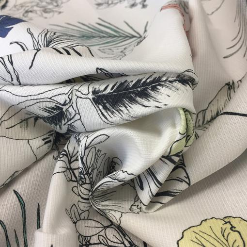 Хлопковый жаккард стрейч листья на белом фоне