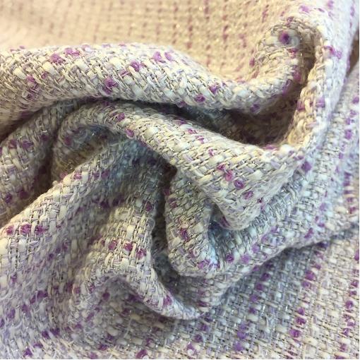Шанель нарядная хлопок со льном сиреневого цвета с люрексом