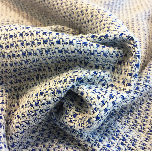 Шанель нарядная хлопок со льном летняя сине-молочного цвета