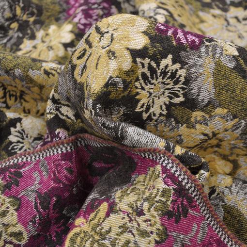 Пальтово-костюмный жаккард с цветочным принтом