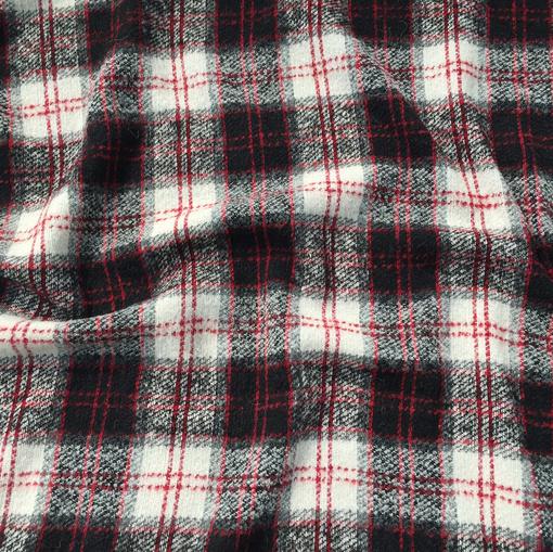 Ткань пальтово-костюмная Burberry бело-черно-красная клетка