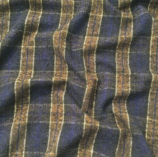 Ткань пальтово-костюмная Burberry сине-бежевая клетка