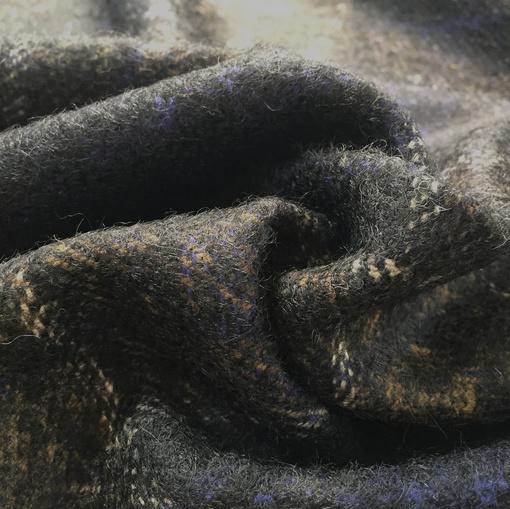 Ткань пальтово-костюмная Burberry сине-коричневая клетка с мохером