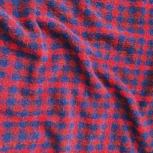 Букле шерстяное пальтово-костюмное сине-красная клетка Burberry