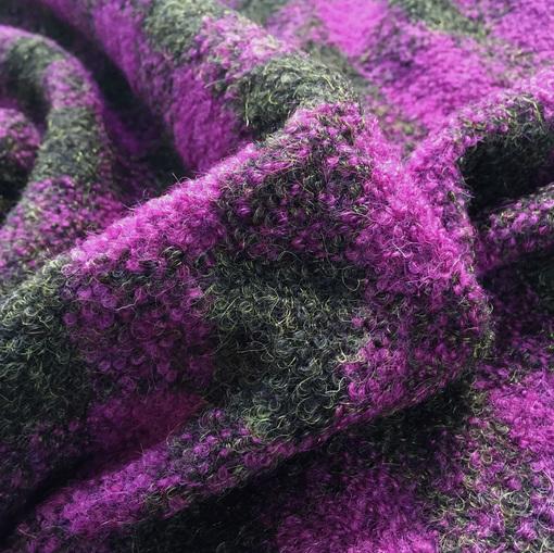 Букле мягкое пальтовое Burberry серо-сиреневая клетка