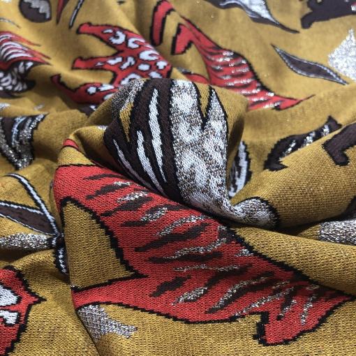 Джерси вискозное стрейч с люрексом Gucci тигры и листья на горчичном фоне