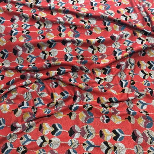 Джерси вискозное стрейч с люрексом Gucci орнамент на красном фоне