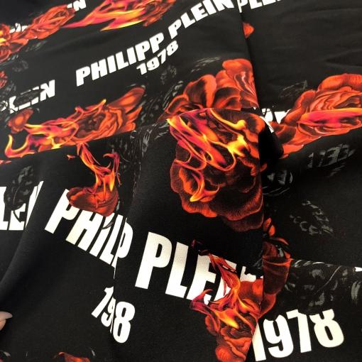 Джерси вискозное стрейч дизайн Philipp Plein пламя и розы