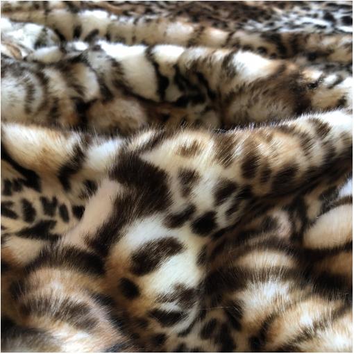 Мех искусственный стрейч на трикотажной основе ворс 2 см под леопард