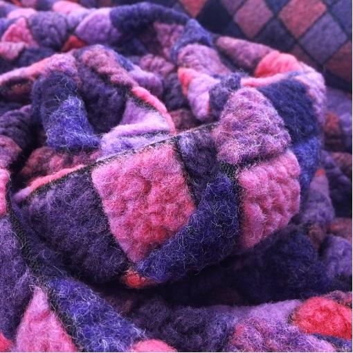 Лоден шерстяной розово-сиреневая клетка