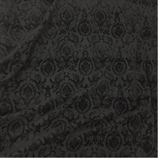 Лоден шерстяной дизайн D&G с черным флоковым рисунком