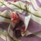 Жаккард нарядный принт Ferragamo цветы и полосы в сиреневой гамме