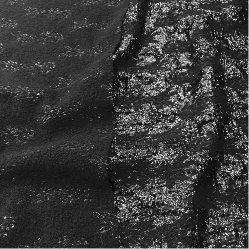 Жаккард нарядный шерстяной черного цвета с черным люрексом