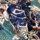 Жаккард нарядный Aspesi на шерстяной основе сине-голубая абстракция