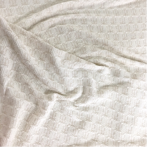 Жаккард нарядный шерстяной дизайн Prada люрексовые элементы на молочном фоне