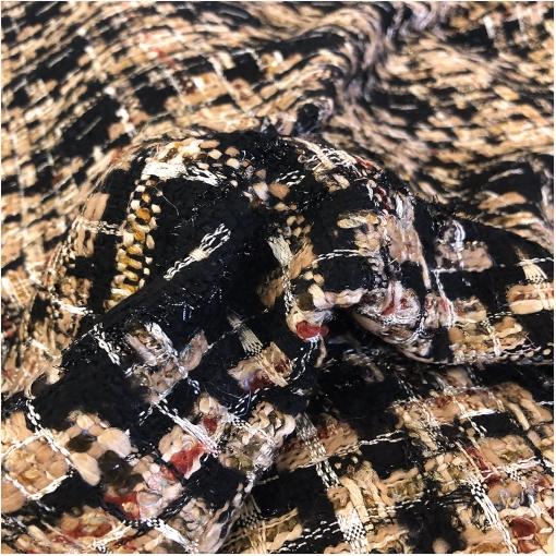 Шанель нарядная шерстяная черно-песочного цвета с люрексом
