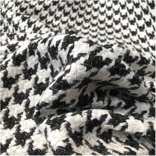 Шанель нарядная костюмная с люрексом молочно-черный пье-де-пуль