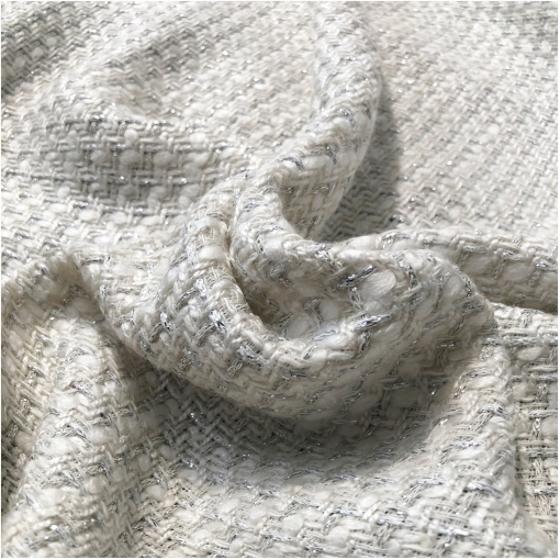 Шанель нарядная костюмная с люрексом мелкая молочно-серебристая клетка
