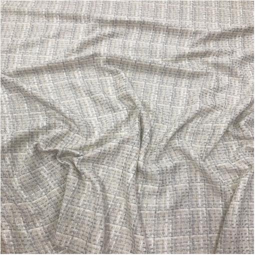 Шанель нарядная костюмная с люрексом крупная молочно-серебристая геометрия