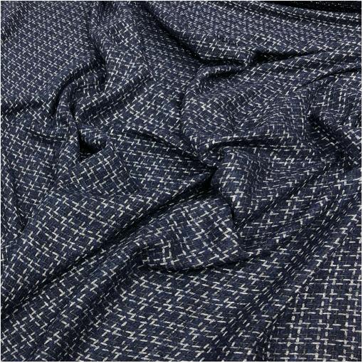 Шанель нарядная костюмная с люрексом сине-серая геометрия