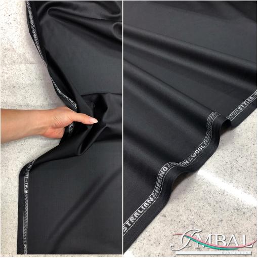 Ткань костюмная шерстяная черного с отливом цвета