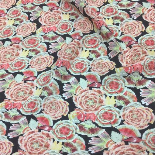 Лен костюмно-плательный принт D&G капуста в розово-терракотовых тонах