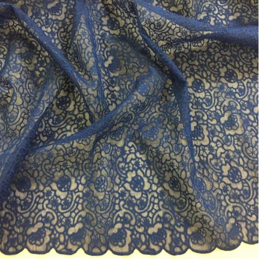 Органза вышитая Valentino темно-синего цвета