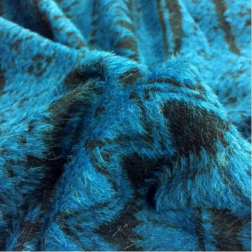 Ткань пальтовая Louis Vuitton черная с бирюзовым ворсовым узором