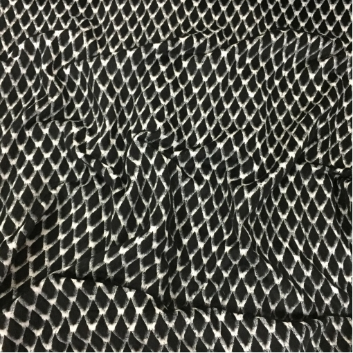 Ткань пальтовая дизайна Chanel с меховыми ромбами
