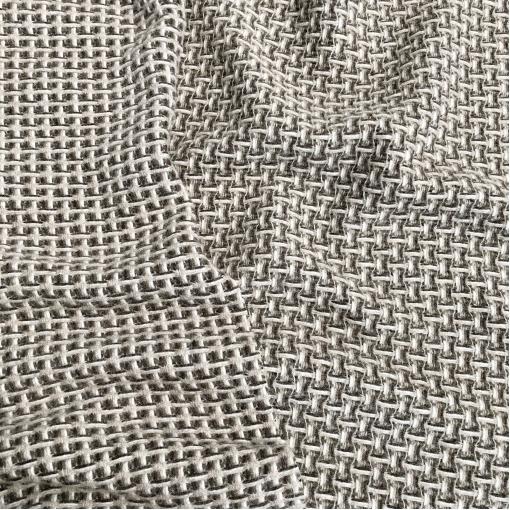 Ткань пальтовая двухсторонняя дизайн Chanel плетёная клеточка в кофейно-бисквитных тонах