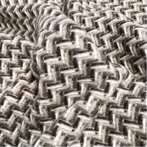 Ткань пальтовая двухсторонняя дизайн Chanel плетёные зигзаги в кофейно-бисквитных тонах