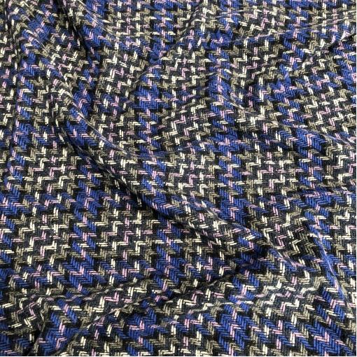 Ткань пальтовая плетеная Chanel зигзаги и клетка в серо-синих тонах