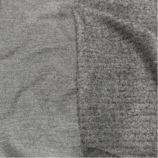 """Ткань пальтово-костюмная дизайн Armani двухсторонняя мелкая серая """"елочка"""""""