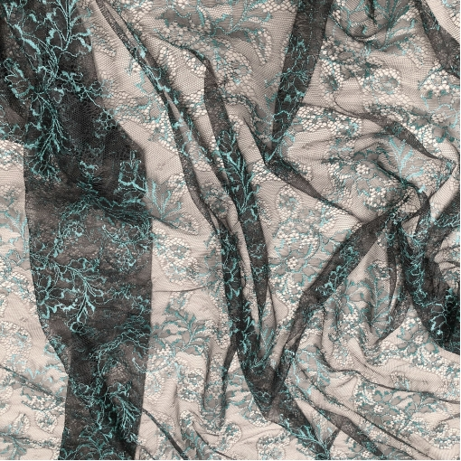 Кружево стрейч Soltis бирюзовые узоры на антрацитовом фоне