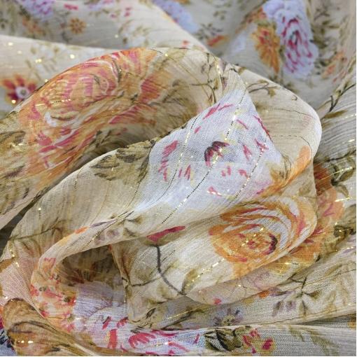 Шелк шифон креш принт Dior цветочная поляна с люрексовой полоской