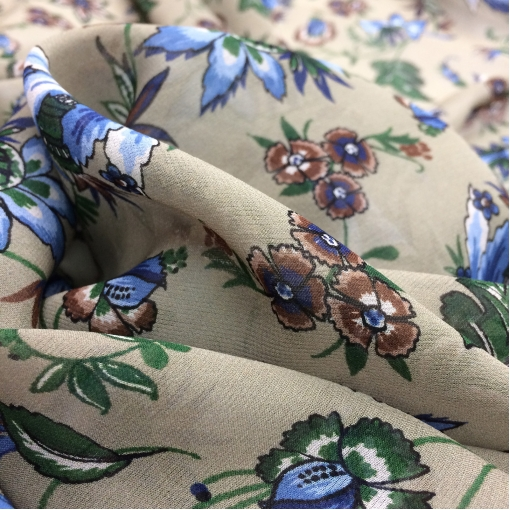 Шелк шифон принт Gucci синие цветы на бежевом фоне