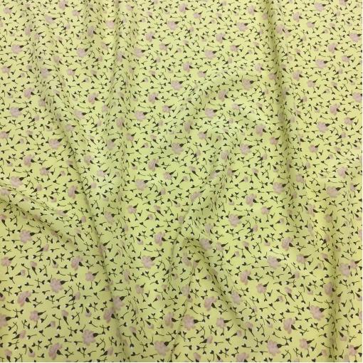 Шелк креп Prada полупрозрачный цвета золотистый лайм с мелкими цветочками