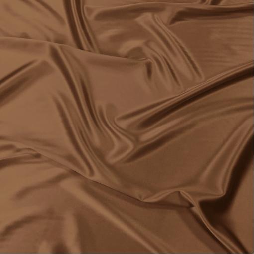 Шелк атласный стрейч золотисто-кофейного цвета