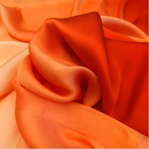 Шелк непрозрачный деграде апельсинового цвета