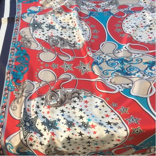 Шелк атласный принт платки со звездами на алом фоне