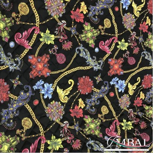 Ткань курточная стеганная принт Versace цепи и камни