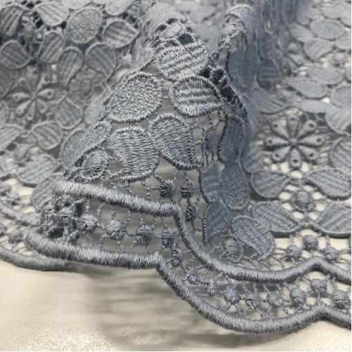 Кружево макраме вискозное Ferraetti с фестонами пыльно-голубого цвета